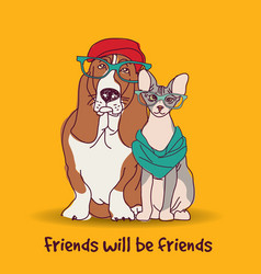 Couple fashion friends pets fun animals card vector