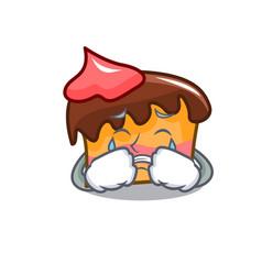 Crying sponge cake mascot cartoon vector