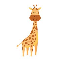 Cute cartoon little giraffe isolated on white vector
