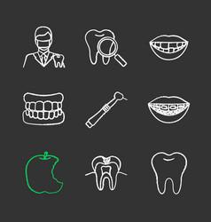Dentistry chalk icons set vector