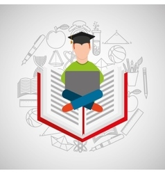 eduation online concept student e-learning school vector image