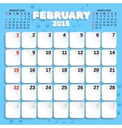 February Month Calendar 2015 vector image