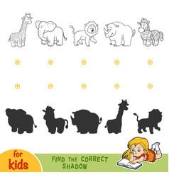find correct shadow black and white safari vector image