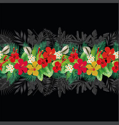 flowers leaves decorative strip black background vector image