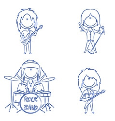 Funky kids rock band vector