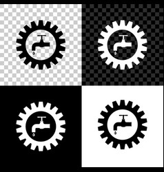Gearwheel with tap icon isolated on black white vector