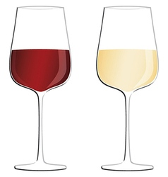 Glasses of white wine and red wine isolated in vector