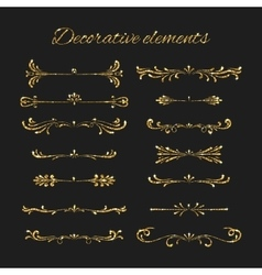 Golden dividers set Ornamental decorative vector image