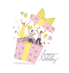 happy friends making surprise for birthday party vector image