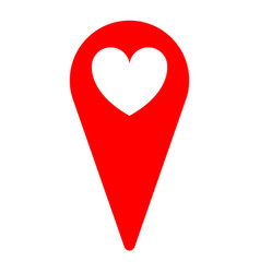 Heart love location sign icon vector
