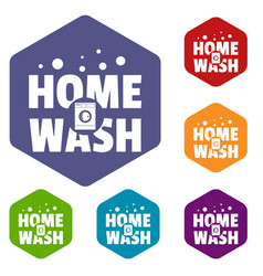 home wash icons hexahedron vector image