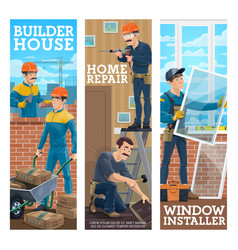 House builder home repair handyman banner vector