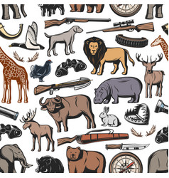 hunting animal and hunter rifle seamless pattern vector image