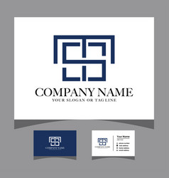 Initials ts logo with a business card vector