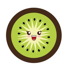 kawaii kiwi slice vector image