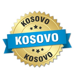 Kosovo round golden badge with blue ribbon vector