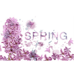 lilac flowers spring banner watercolor vector image