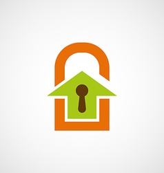 Logo real estate in the form of a door lock vector image vector image