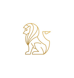 Logo sitting lion hand drawn with thin vector
