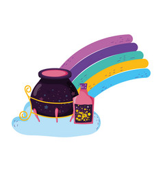 magic witch cauldron with potion bottles in vector image