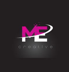 me m e creative letters design with white pink vector image
