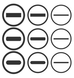minus negative icon shape round button set vector image
