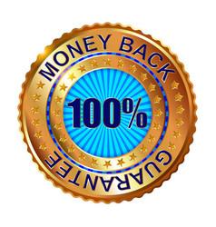 money back guarantee golden label vector image