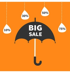 Monsoon season offer Black umbrella Hanging dash vector