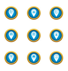 Navigation program icons set flat style vector