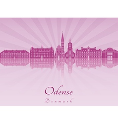 Odense skyline in purple radiant orchid vector