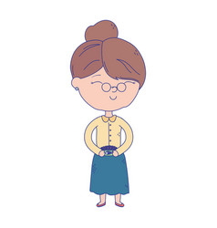 Old woman with glasses cartoon character vector