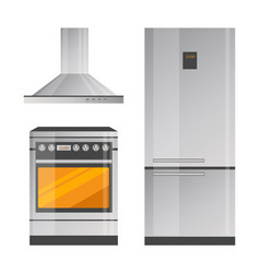 oven and refrigerator colorful vector image