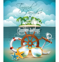 Palm and shipping elements on tropical background vector