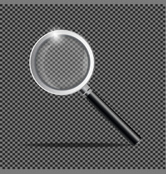 photo-realistic 3d black magnifying glass vector image