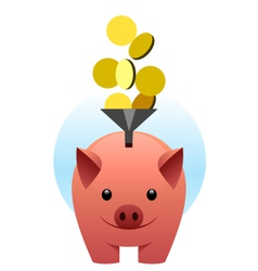 Piggy bank catches coins vector image