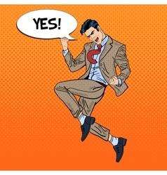 Pop Art Successful Businessman Jumping vector