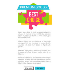 premium goods best choice page vector image