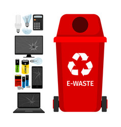 red garbage can with e-waste elements vector image