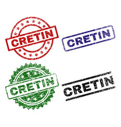 Scratched textured cretin stamp seals vector