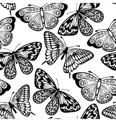 Seamless background butterflies black and white vector