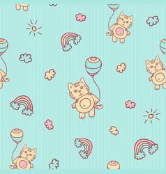 seamless cartoon pattern little kitten vector image
