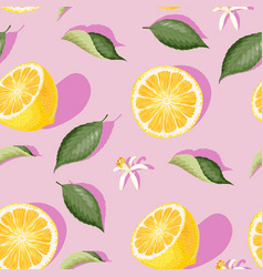 seamless pattern with lemon slices and leaves vector image