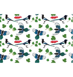 Seamless pattern with magpie leaves and viburnum vector