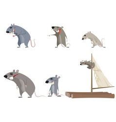 Set of six rodents vector