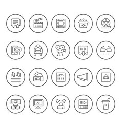 set round line icons movie vector image