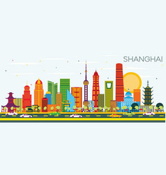 shanghai china city skyline with color buildings vector image