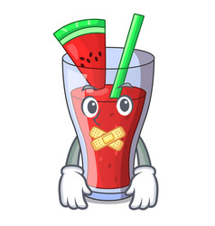 Silent fresh watermelon juice isolated on mascot vector