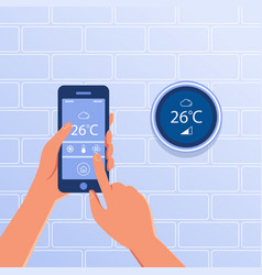 Smart thermostat as smart home concept vector