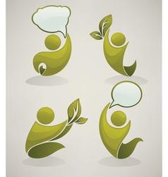 speaking green people vector image