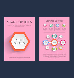 Start up idea path to success infographic posters vector